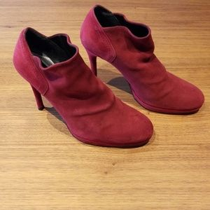 Stuart Weitzman Red Suede Ankle Boots
